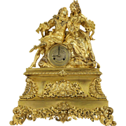 French Gilt Bronze Figural 1820's Antique Silk Suspension Mantel Clock