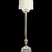 Art Deco 1940 Vintage Chrome Floor Lamp, Lighted Slag Glass Base