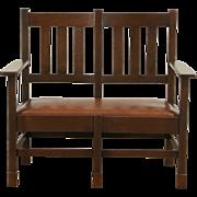 Arts & Crafts Mission Oak Antique 1905 Craftsman Bench, Leather Seat