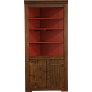 Country Pine 1860's Antique Angled Corner Cupboard, Rebuilt