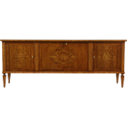 Italian 1920's Marquetry Sideboard Server Credenza, Signed Pisa
