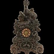 Black Forest 1880's Antique Walnut Clock, Carved Deer, Signed Bern, Switzerland