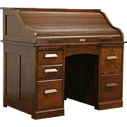 Oak 1900 Antique S Curve Roll Top Desk, Locking File Compartment