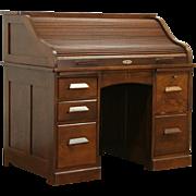 Oak 1900 Antique S Curve Roll Top Desk, Locking File Compartment