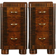 Pair of Art Deco 1940 Vintage Mahogany and Burl Nightstands