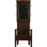 Arts & Crafts Mission Oak 1905 Antique Hall Stand, Bench & Mirror, Seat Storage