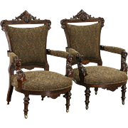 Victorian Renaissance 1870's Antique Jenny Lind Carved Pair of Parlor Chairs