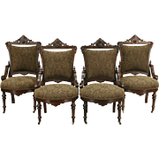 Victorian Renaissance 1870's Antique Jenny Lind Set of 4 Dining or Parlor Chairs