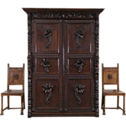 Renaissance Oak Antique 1870 French Armoire Cabinet, Carved Angels, Lions & Frui
