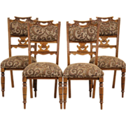 Set of 4 Antique 1900 Oak Art Nouveau Dining or Game Table Chairs