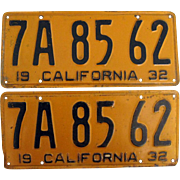 Pair 1932 California License Plates
