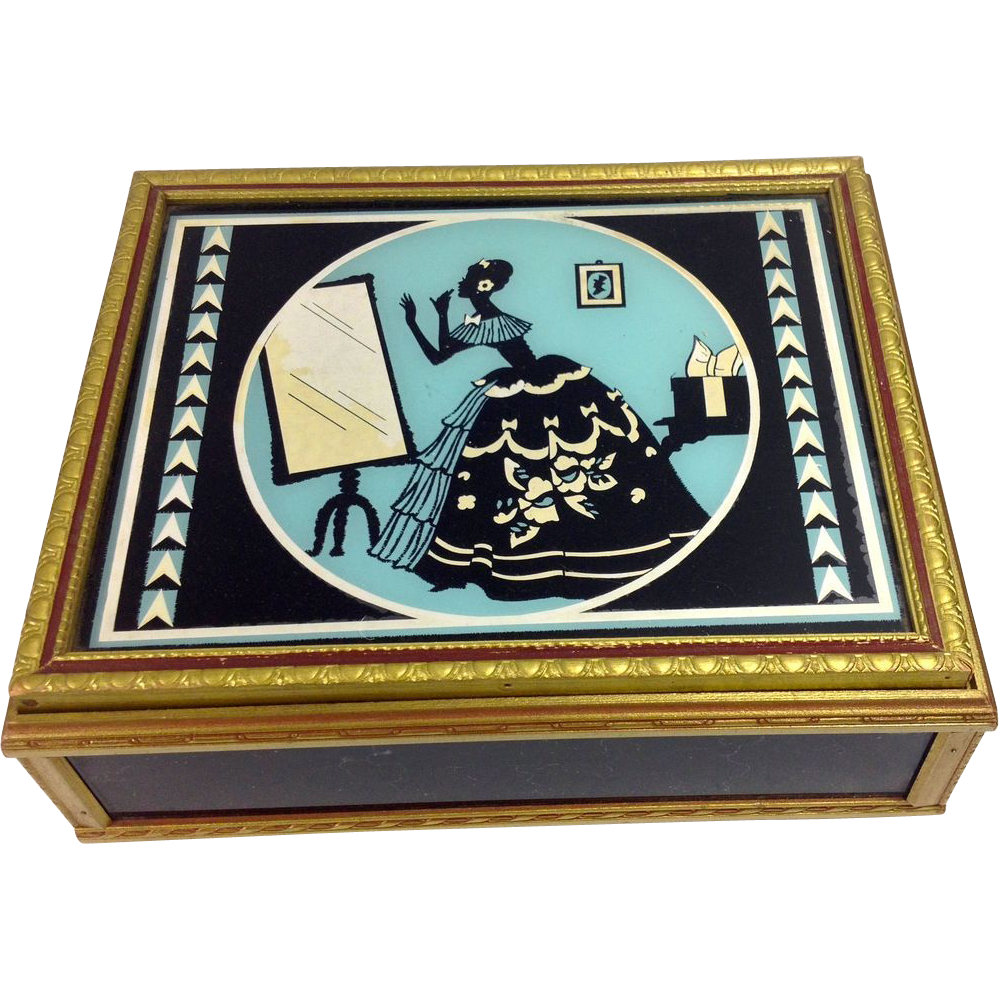 The Deco Haus Tagged Color Red: Reverse Painted Art Deco Glass Wood Jewelry Box