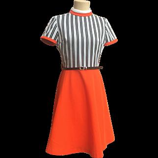 SALE Retro Mod Orange Dress w/ Black & White Striped Bodice