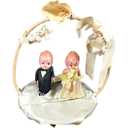 SALE PENDING Vintage Celluloid Kewpie Doll Bride & Groom Wedding Cake Topper