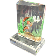 SALE Lucite Reverse Carved Underwater Fish & Lure Light Catcher / Book End