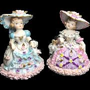 Napco Lady Figurine Pair w Purse, Umbrella w Spaghetti Trim