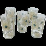 Turquoise & Tan Vintage Atomic Sunburst 8 Ounce Beverage Glasses