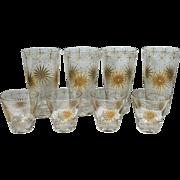 Gold & Tan Vintage Atomic Sunburst Beverage & Shot, Cordial Glasses