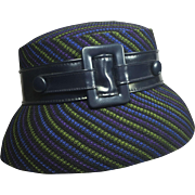 Darling Navy Blue & Pinstriped Bucket Hat w Buckle & Buttons