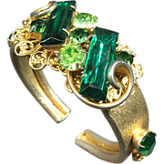 SALE PENDING Peridot & Green Rhinestone Double Hinge Expansion Cuff Bracelet