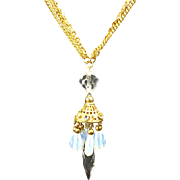 SALE Long Dangling Crystal Pendant w Opalescent Drops