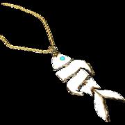 JJ Articulated Retro Modern Fish Pendant Necklace