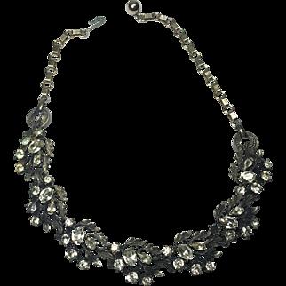 Stunning Antiqued Setting Rhinestone Necklace Marked Lisner