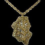 SALE Coro Vintage Gold Nugget Rhinestone Pendant Necklace