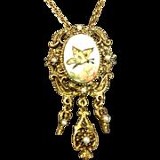 SALE Handpainted Butterfly & Flower Portrait Porcelain Pendant Necklace