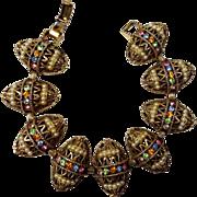 SALE Domed Renaissance Style Bracelet w Rhinestones & Faux Pearls
