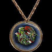 SALE Mid-Century Copper & Blue Enamel w Inky Swirl Pendant