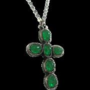 SALE Faux Jade Green Scarab Cross Pendant by Judy Lee
