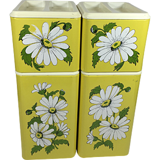 Retro Daisy Stacking Metal Kitchen Canister Set in Sunny Yellow