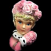 Enesco Lady Head Vase Wall Pocket w Rose Muff & Hat