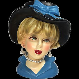 Rubens Lady Head Vase in Blue