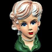 Rubens Lady Head Vase w Pierced Ears