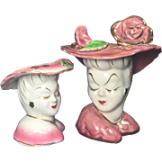 Glamour Girl Lady Head Vases Pair in Pink