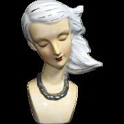 Art Deco Style Lady Head Vase w Windswept Hair