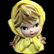 Inarco Lady Head Vase Girl w Big Blue Eyes in Yellow