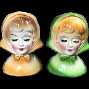 Retro Petite Lady Head Vases w Scarves