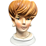 Space Age Vogue Lady Head Vase w Rhinestone Necklace (Your Bracelet)