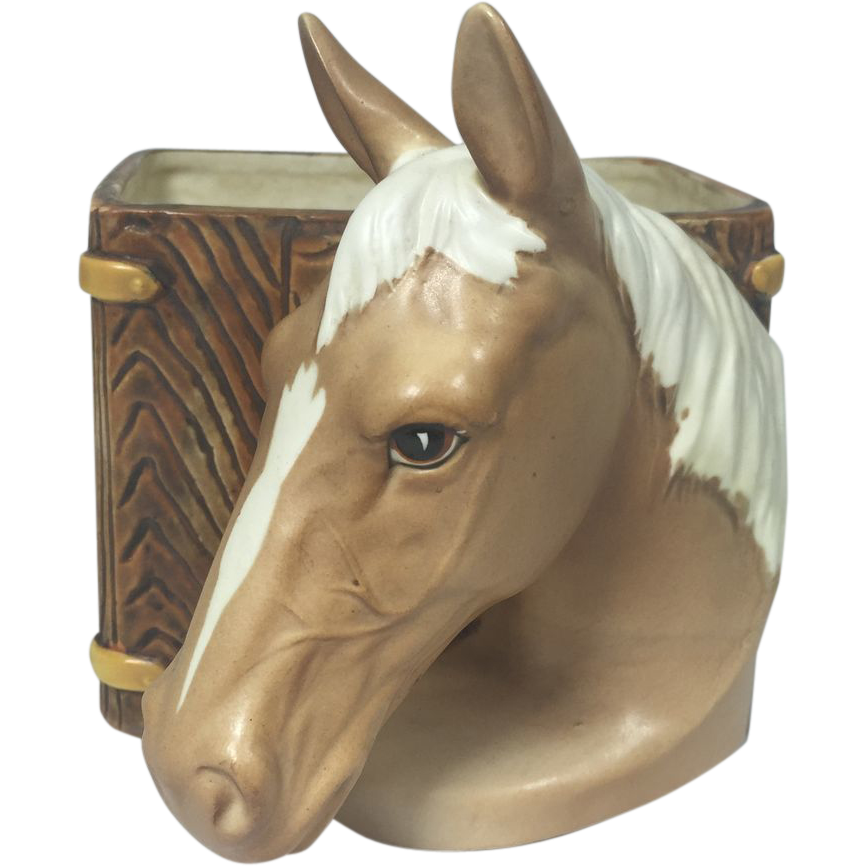Vintage Ceramic Horse Head Planter from headsupvintage on Ruby Lane