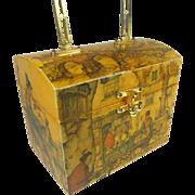 SALE Anton Pieck Wood Box Purse w Cobblestone Dutch Village Market City Scene