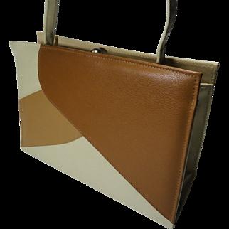 SALE Retro Neutral Color Block Faux Leather Purse