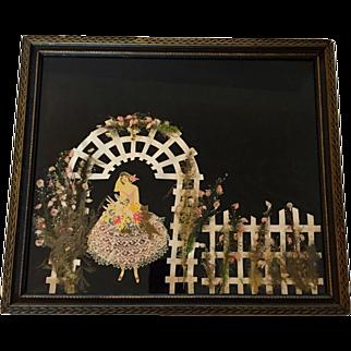 SALE Rare Art Deco Bride Under Garden Trellis Ribbon Doll Picture