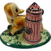 SALE Dog & Fire Hydrant on Grass Stand Salt & Pepper Shakers