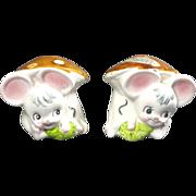 SALE Enesco Missy Mouse in Mushroom House Salt & Pepper Shakers