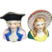 SALE Old Fashioned Colonial Man & Woman Salt & Pepper Shakers