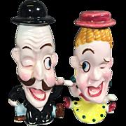 SOLD Big Eyes Caricature Winking Man & Woman Salt & Pepper Shakers