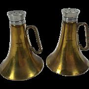 SALE Brass Bugle or Trumpet Horn Salt & Pepper Shakers